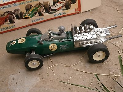 Vintage Tin Metal Toy Racing Car With Original Box