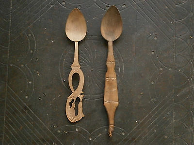 Old Rare Antique Unique Hand Made Carved Wooden Spoons