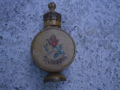 Vintage Antique Wooden Bottle With Bulgarian Rose Parfum Inside