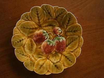 Vintage Majolica Plate Porcelain With Strawberry With Stamps
