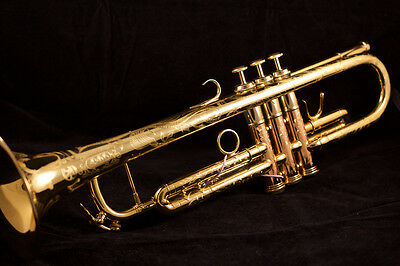 Excellent  custom Engraved Adams A1 Trumpet  in gold lacquer:  One of a kind!