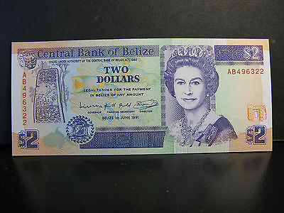 Belize $2 Banknote P-52, Uncirculated, A Beauty