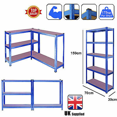 5 Tier Heavy Duty Boltless Metal Shelving Shelves Storage Unit Garage Home Blue