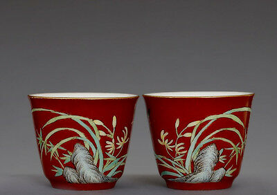 Pair Of Antique Chinese Red Glaze Porcelain China Cups Marked YongZheng FA063