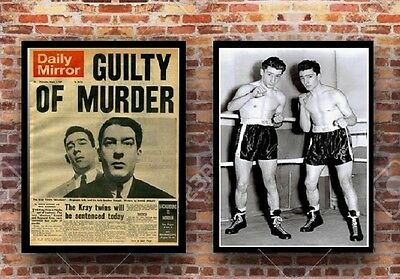 2 X Kray Twins  Gangster A3 Size Posters - Guilty Newspaper & Boxing Set B