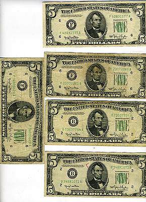 5-$5 Five Dollar Federal Reserve Note Bill Circulated