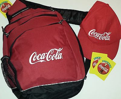 COCA COLA RED BLACK SLING BAG BACKPACK TOTE COLLECTIBLE with FREE COKE CAP NWOT!