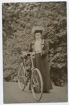Young Lady with Bicycle Vintage Edwardian Real Photo Postcard 9