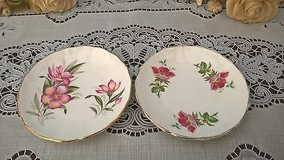 2 x DUCHESS BONE CHINA MINIATURE FLORAL PLATES MADE IN ENGLAND