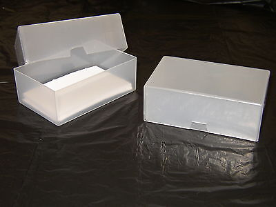 100 x BUSINESS CARD BOXES CLEAR PLASTIC CRAFT PARTS BEADS BOX HOLDER CONTAINER