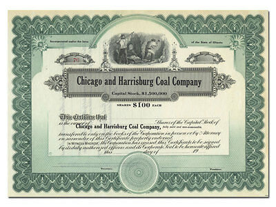 Chicago and Harrisburg Coal Company Stock Certificate