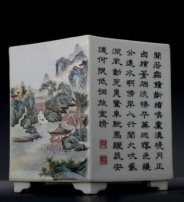 Antique Chinese Hand Painted Porcelain Hexagon Brush Pot Marked QianLong FA046