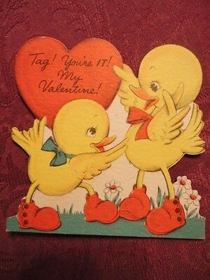 Valentine Card Tag your It .... Ducklings Red Shoes Playing Used Vintage