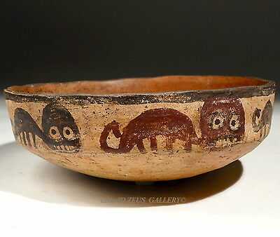 Pre Columbian NAZCA Pottery Bowl 500 AD Band of Red & Black Panthers Felines
