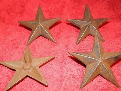 "Set/4 Cast Iron Stars Rustic Cast Iron 3 1/4""  Nail Back  Western Wall Decor"