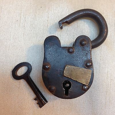 "03B-D1 Lock Antique Iron Brass Padlock, Key 3"" Keyhole cover Vintage Works"