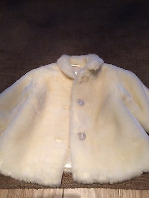 Girls White Cream Fur Jacket Age 2-3 Mothercare