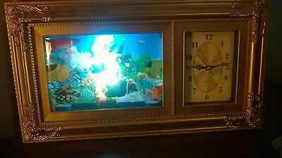 Lighted Clock With Moving Fish Scene