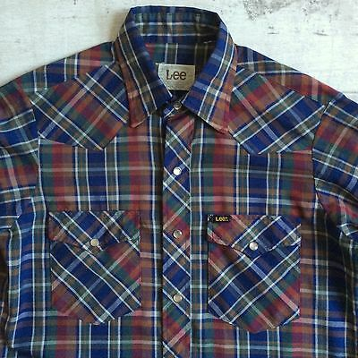 vtg LEE U.S.A MADE CHECKED L.SLEEVED WESTERN SNAP SHIRT X.LONG TAILS THIN M 15""