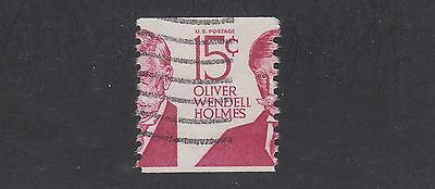 UNITED STATES #1305E Used 15c Oliver Wendell Holmes Coil Stamp PERFS SHIFTED