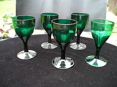 Set of 5 late Georgian tulip shaped Bristol Green glasses
