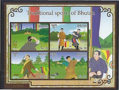 Bhutan 2015 Traditional Sports Souvenir Sheet Of 4 Stamps In Mint Mnh Unused