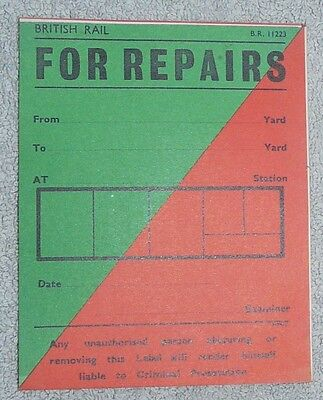 British Railways Wagon Labels - For Repairs