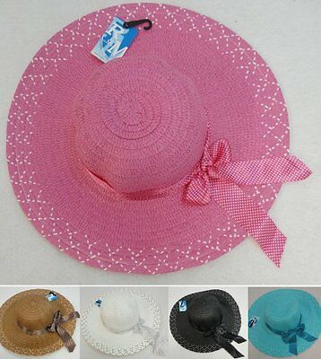 Bulk 10pc Colored Ladies Womens Woven Summer Hat w/ Polka Dot Bow