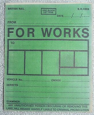 British Railways Wagon Labels - For Works