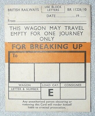 British Railways Wagon Labels - For Breaking up
