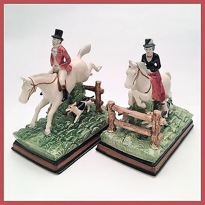 Rare Pair of Fitz & Floyd Fox Hunt Bookends from the Equestrian Series