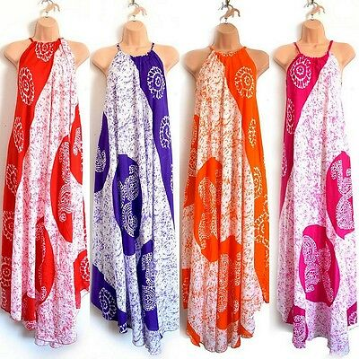 African Tribal Cotton Sundress Maxi Dresses, Ethnic Boho Holiday Christmas Gifts