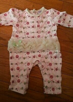 Baby Infant Girls KYLE & DEENA Size 3-6 Months Green White Floral Romper Outfit