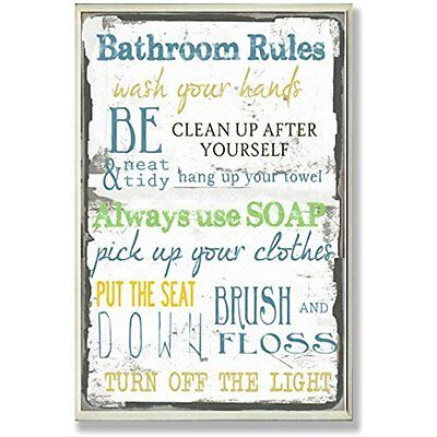 Plaques The Stupell Home Decor Collection Bathroom Rules Typography Bathroom