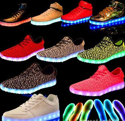 New Men Women 7 LED Night Light Couples Light Up Trainer Lace-up Shoes Sneakers