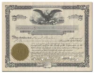 Lewisburg and Northern Railroad Company Stock Certificate (Kentucky, Tennessee)