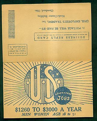 1930's U.S. Government Jobs Advertising Business Reply Postal Card