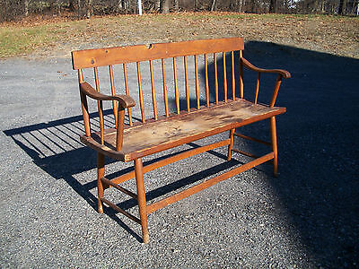 Antique Hand Made Wood Deacons Bench 4 feet wide Spindle back