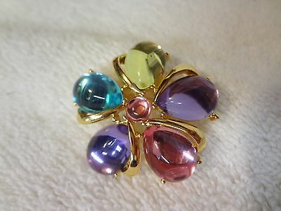 Vintage JEWELRY BROOCH -- PINWHEEL CABACHON -- TRIFARI -- ABSOLUTELY STUNNING!