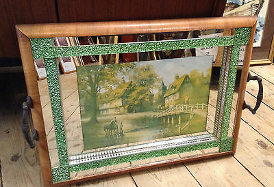 Vintage Art Deco Green Glass and Wood Tray/Mirror/Picture 1930s/ 50s rare