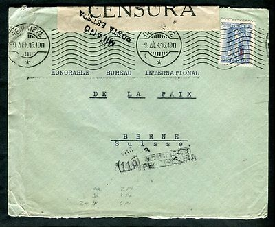 Greece 1916 Cancel on Cover to Switzerland Milano Italy Censor Tape + Handstamp