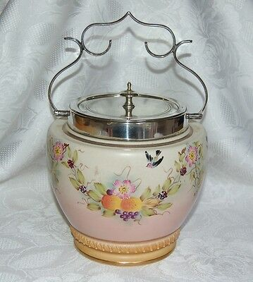 RARE ANTIQUE 1895c WILLIAM WOOD & CO FLORAL DESIGN BISCUIT BARREL EPNS LID