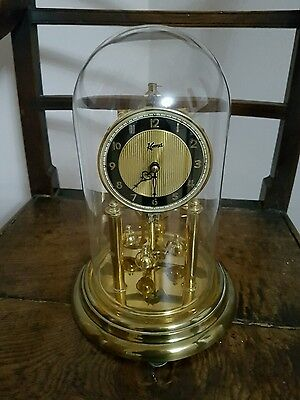 "Koma German Anniversary 400 days Gilded Case Glass Dome Clock GWO 12""H 7.5""D"