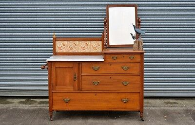 Antique Marble Top Washstand Edwardian Chest Of Drawers.