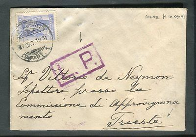 Greece 1919 Cancel on Cover to Trieste Italy Boxed L.P. Handstamp Censor?