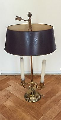 a vintage cast brass adjustable student lamp with painted tole shade