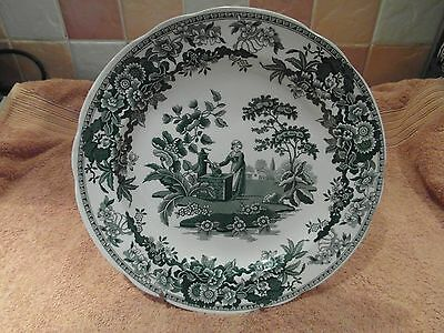 """Spode Archive Collection  Georgian Series """"girl At Well"""" Green Dinner Plate"""