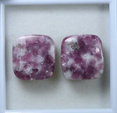 Pair  34.75 Cts. 100 % Natural Lepidolite Untreated Cushion Cab Loose Gemstones