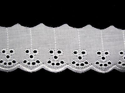 """2"""" Ivory White Blue Cotton Eyelet Flat Lace Trim Embroidered Sewing Notion"""