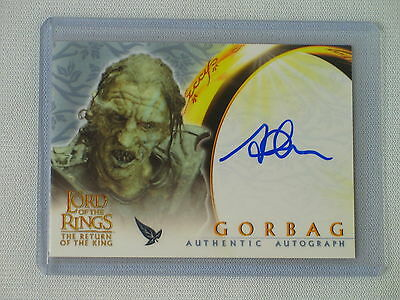 Topps Lotr Rotk Stephen Ure As Gorbag Autograph Card Return Of The King